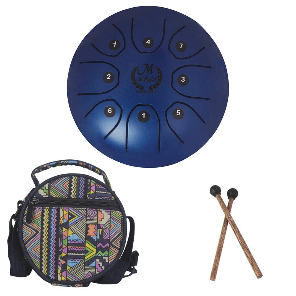 Per Newly 5.5 inch Mini Steel Tongue Drum Fanyin Drum Forget Worry Drum Empty Drum (with Knocking Stick 2 + Drum kit 1)