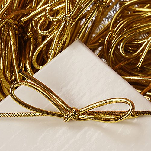8 inch Gold Stretch Loops Shiny Metallic Braided Elastic Cords pack of 100