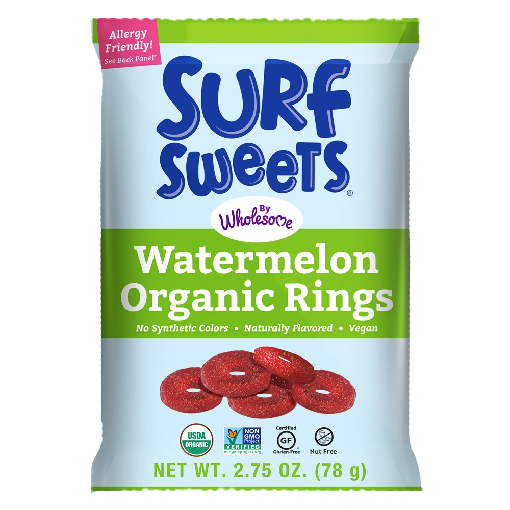 Surf Sweets Organic Watermelon Rings, Non GMO Project Verified, Gluten Free, Nut-Free, Vegan & No Artificial Colors or Flavors, 2.75 oz (Pack of 12)