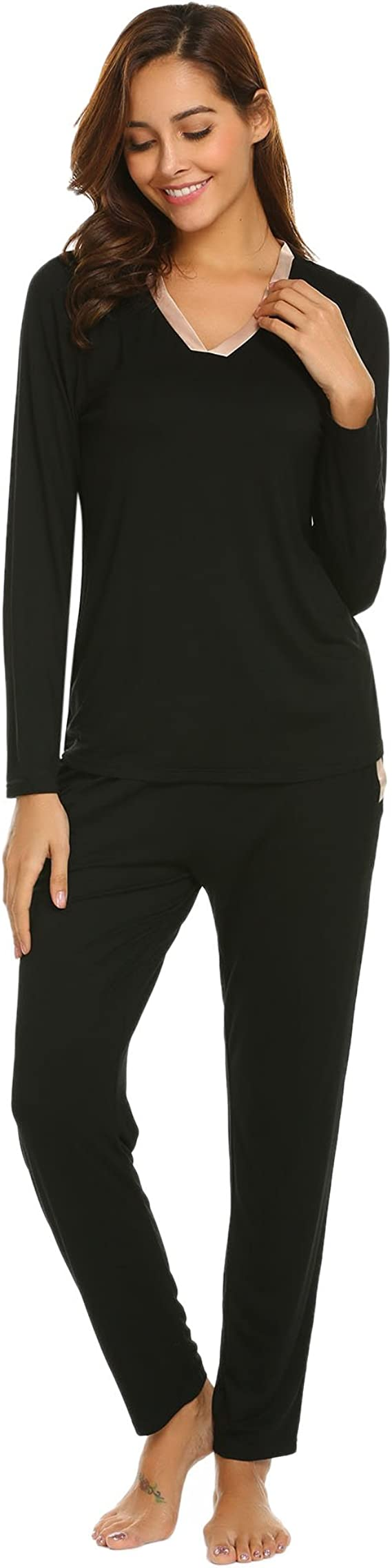 ADOME Damen Lang Elegant Pyjama Weich Set V-Ausschnitt Basic Zweiteiliger Schlafanzug Lang