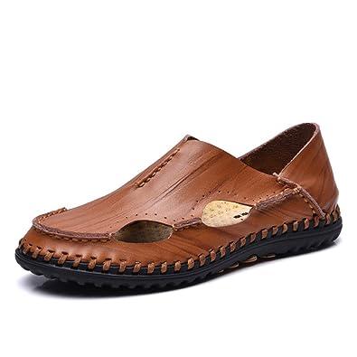 Sandali Scarpe da Uomo Pelle Pantofole Eleganti Estate Scarpe da Lavoro  Casuale Walking Bianche con Buchi Traspiranti Fatte a Mano Comode Ufficio  Mocassini  ... 8642e20fc73