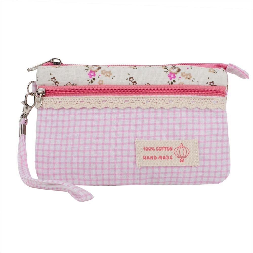 New High Quality Washable Cotton And Polyester Beauty Make Up Cosmetics, Makeup Utensils And Toiletries Pouch / Bag / Case With Double Zippers In Pink And White Colours, Dots And Flowers By VAGA