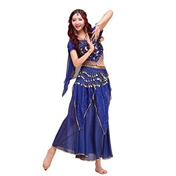 7774d43ca25b Best Dance Womenu0027s Belly Dance Costume Indian Dance Shiny Bells Top  Highlights Skirt Set Dark Blue Sc 1 St Amazon UK