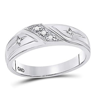 9f1ad742177b Anillo de oro blanco de 10 K con diamantes redondos para hombre ...