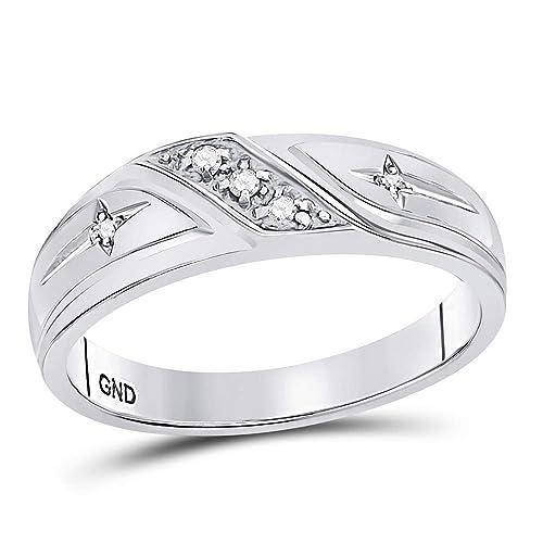 Anillo de oro blanco de 10 K con diamantes redondos para hombre, cruz cristiana,