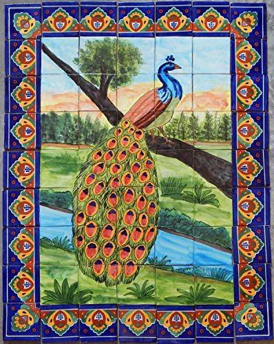 (COLOR Y TRADICIÓN Mexican Talavera Mosaic Mural Tile Handmade Folk Art Peacock Backsplash # 24)