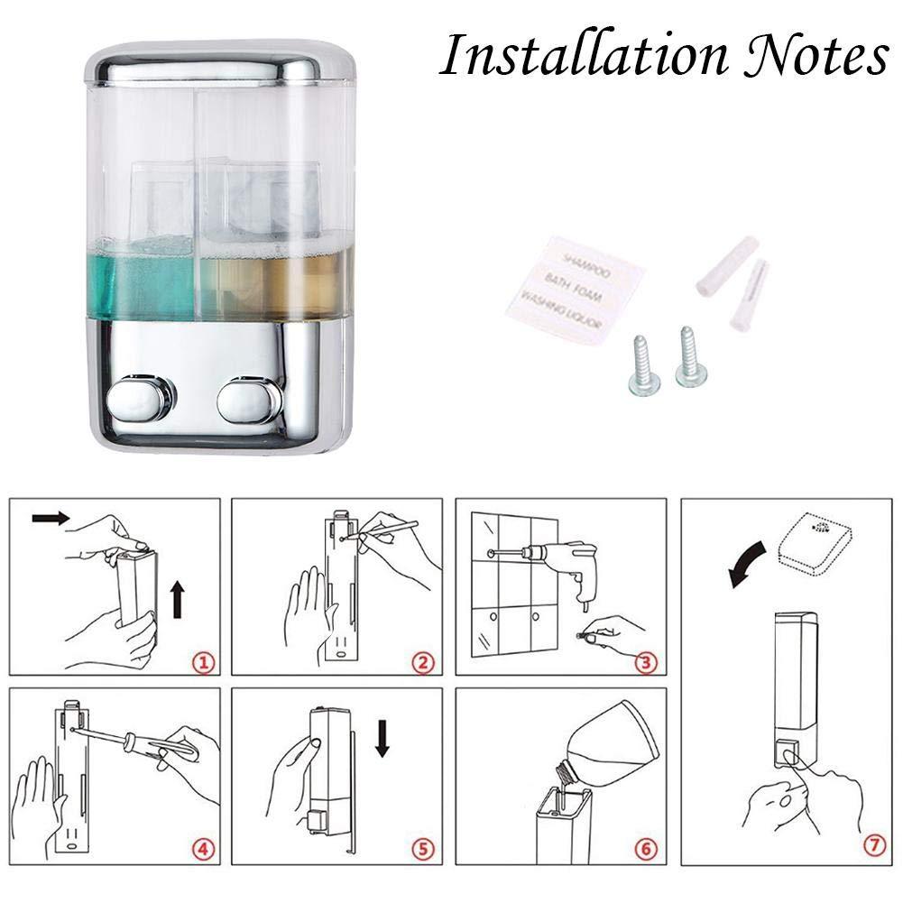 Zay 17 oz Elettrosaldatura a Due Teste Dispenser di Sapone Shampoo in plastica Conditioner Gel Doccia Dispenser per Bagno di casa Alberghi Scuole Ospedali
