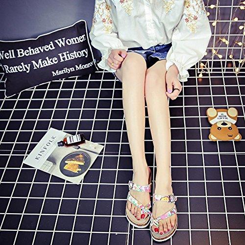 Elong Womens Mayari Birko-flor Kurk Sandaal Platte String Straps Wit