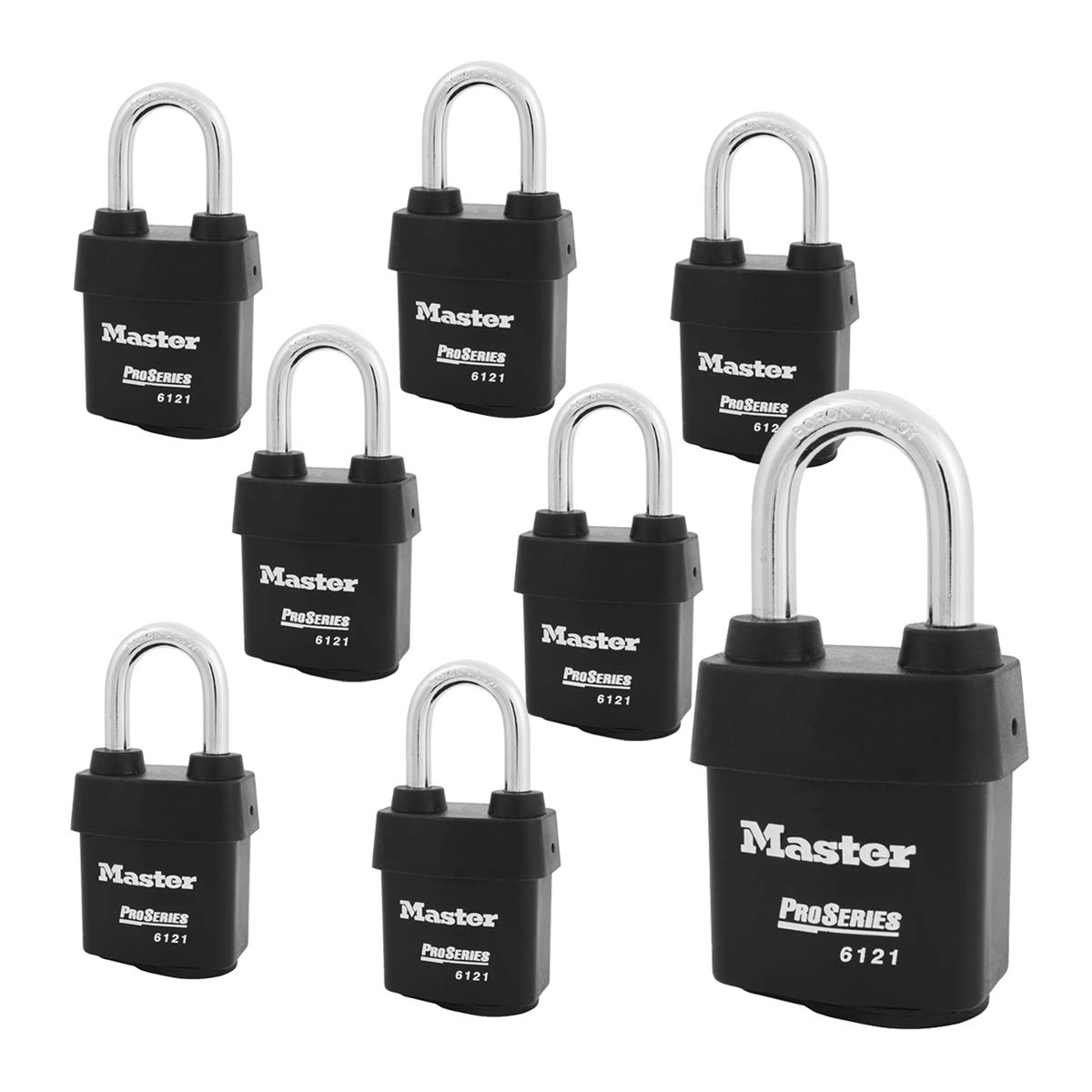 Master Lock - Eight (8) High Security Pro Series Padlocks 6121NKALF-8 w/BumpStop Technology by Master Lock
