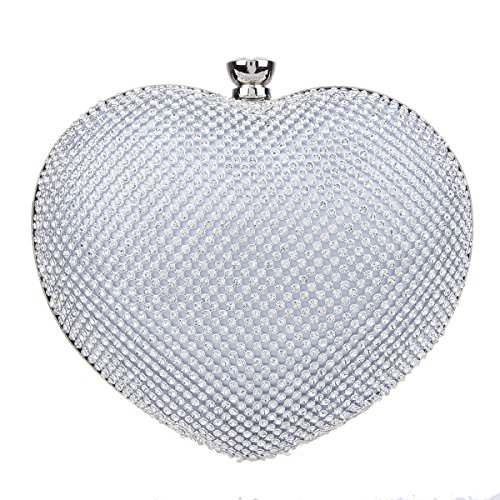 Fawziya Heart Shape Mini Clutches and Evening Bag Clutch Evening - Silver