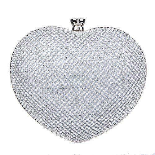 Crystal Heart Bag - Fawziya Heart Shape Mini Clutches and Evening Bag Clutch Evening - Silver