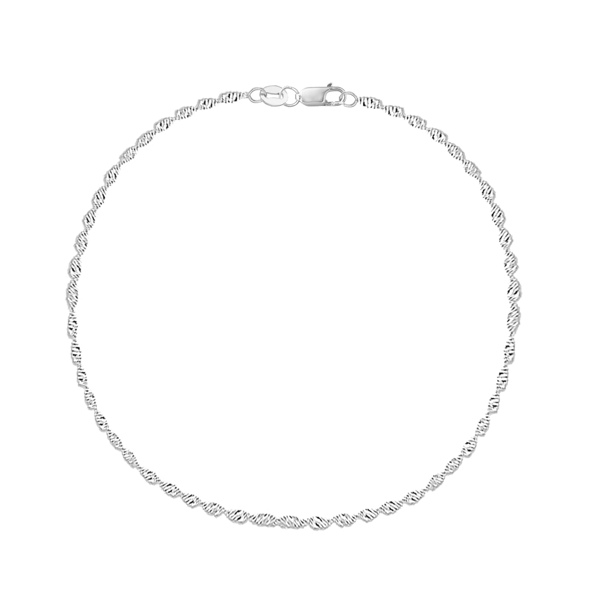 14k Real White Gold Singapore Sparkle Ankle Anklet Lobster Lock 10 Inches