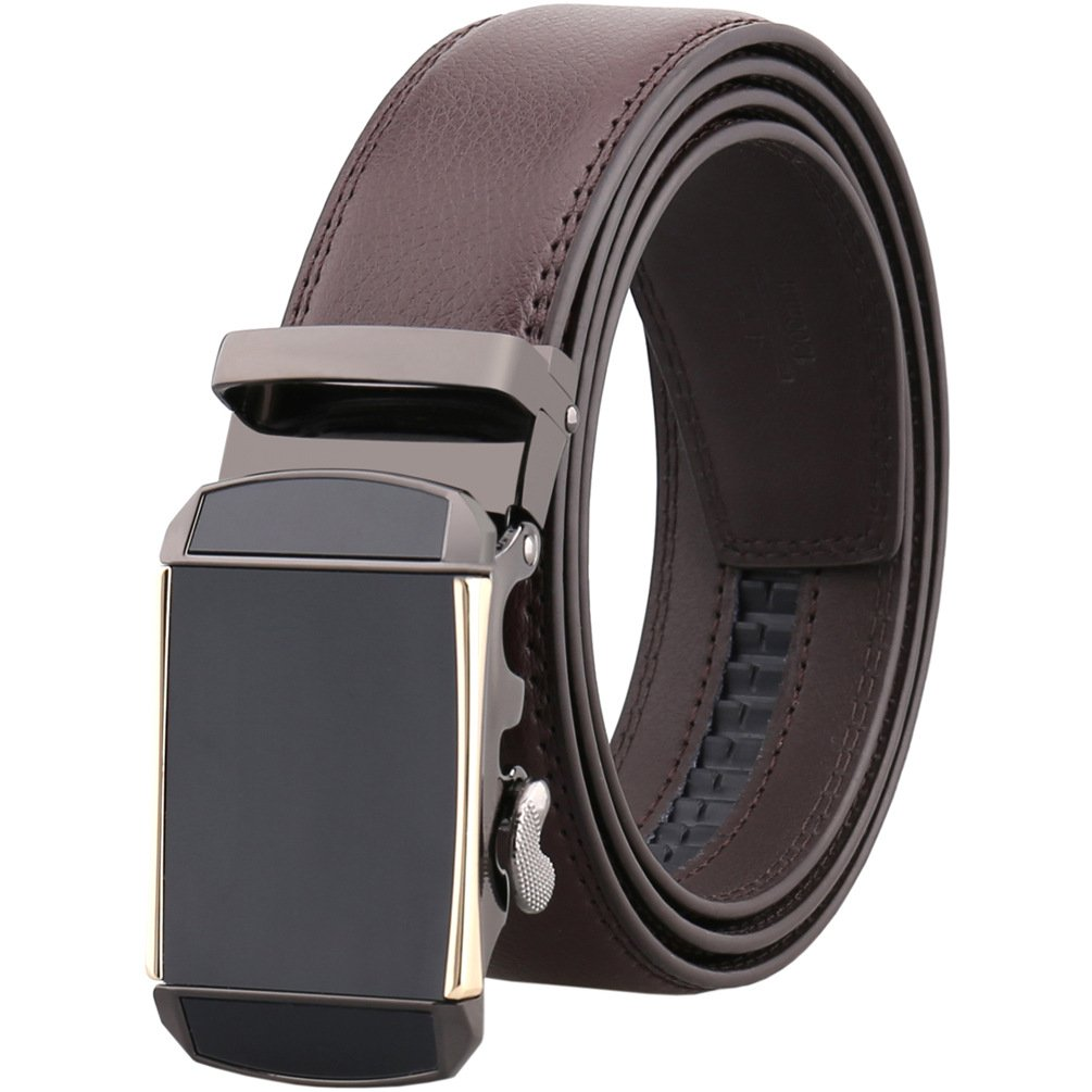 Large 52/54 Men's Genuine Leather Ratchet Belts with Buckle Jeans Black Brown (Brown, 150cm/Max 54'' Waist)