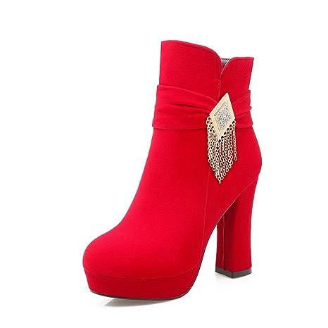 VogueZone009 Donna Cerniera Tacco Alto Plastica Puro Bassa Altezza Stivali  con Metallo, Rosso, 41