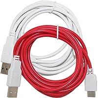 AFUNTA 2 Piezas de Cables de Carga para NABi Jr, NABi 2S, NABi Dream Tab y NABi XD tabletas, Cable de Cargador USB DE 6.6 pies / 2 m - Blanco, Rojo