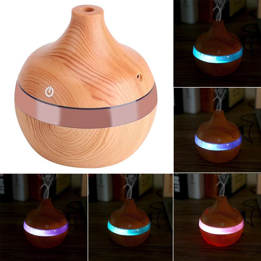 Beige Essential Oil Diffuser Electric Humidificador de Aire 7 Colores 4 configuraciones de Tiempo para el Dormitorio//Sala de Estar//Oficina//SPA//Yoga 300 ml