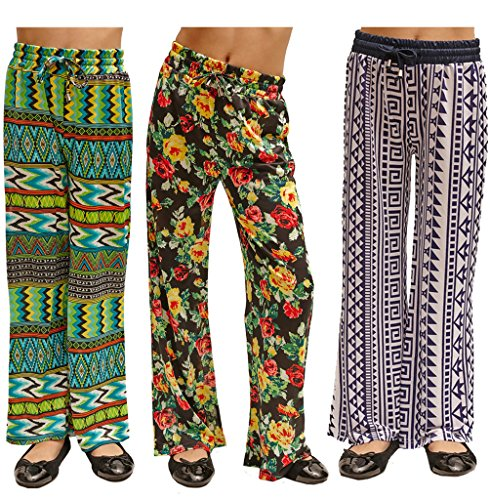3 Pack Golden Black Kids Printed Jersey Palazzo Pants 201-197-186-L (Pants Jersey Printed Lounge)