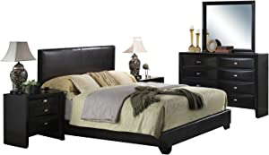 Acme Ireland II 4-Piece Eastern King Upholstered Bedroom Set, Black