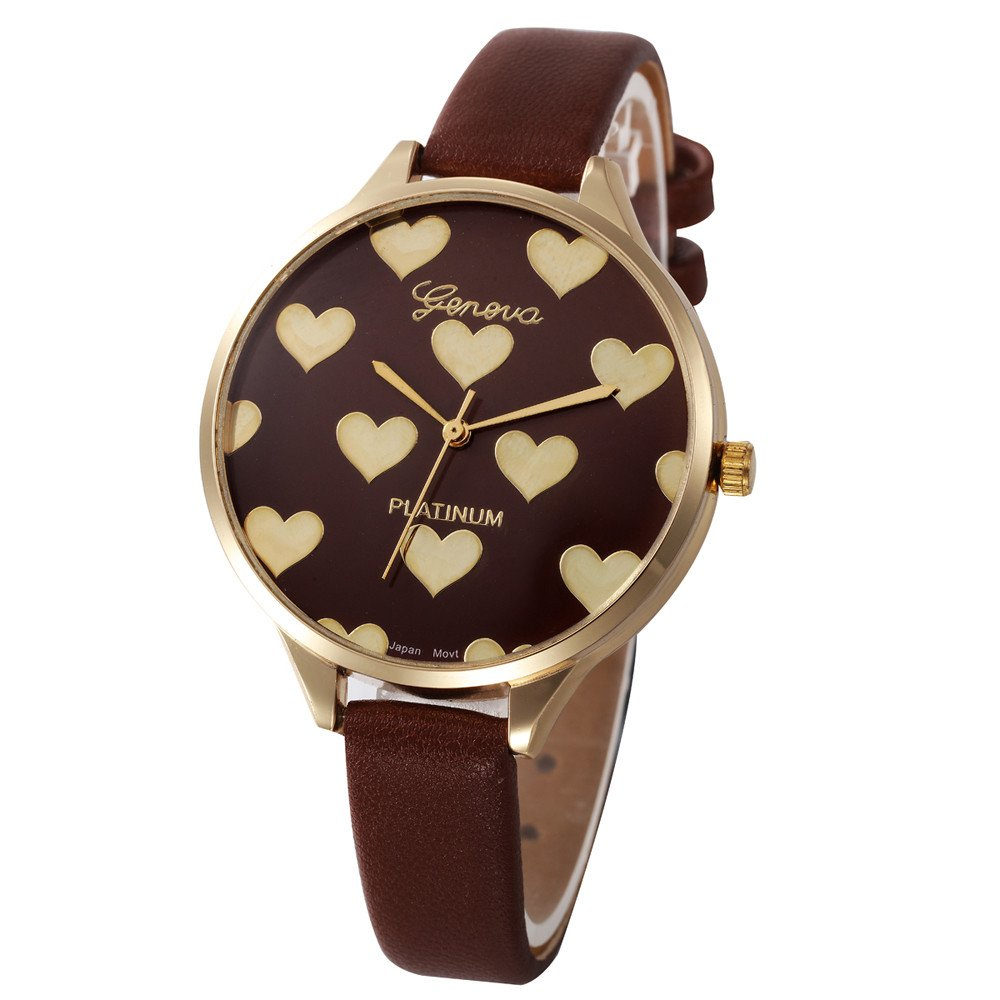 Women's Quartz Watches, Yamally Ladies Casual Faux Leather Checkers Dial Analog Watch On Brown