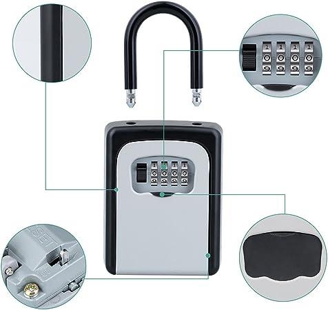 inquilinos realistas ZHENGE Caja de cerradura de combinaci/ón de 4 d/ígitos contratistas montaje en la pared perfecto para invitados caja de bloqueo de almacenamiento para llaves
