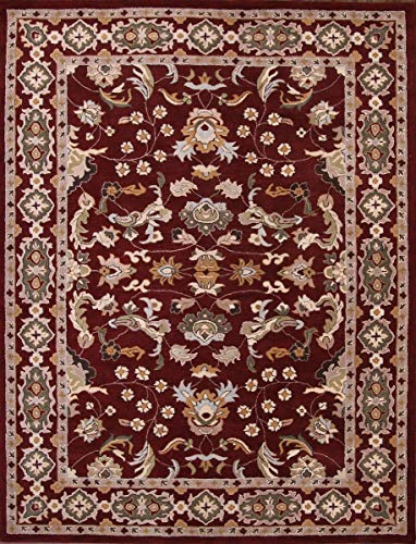Rug Source New Oushak All-Over Floral Hand-Tufted 10x13 Red Wool Oriental Area Rug (12' 10