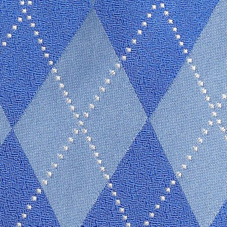 Personalized Silk Royal Blue Argyle Tie with Embroidery