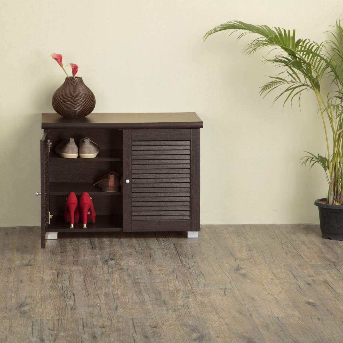 Home Centre Lewis Two Door Low Height Shoe Cabinet- 12 Shoes