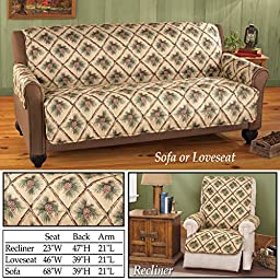 Pinecone Quilted Furniture Protector, Natural, Sofa, Christmas, Holiday, Pinecones, Polyester & Polyester Blend