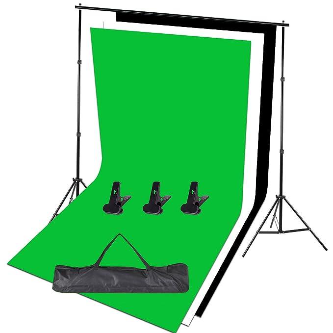 3 pinces 3m x 1.6m Noir Blanc et Vert Fonds de photographie sac de transport gratuit YISITONG Kit de support de fond r/églable Studio de photographie portable pour la photographie