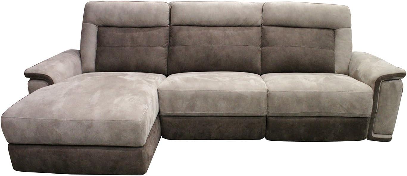 Meubletmoi - Sofá relax chaise longue angular, color marrón y topo, confort suave, tacto suave, de ante sintético, motorizado -Baltimore II