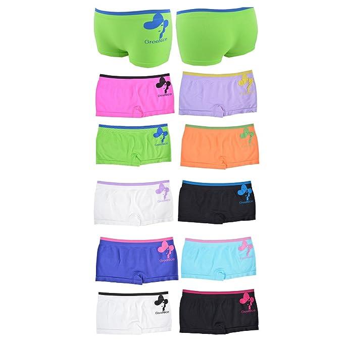 Greenice 6-12er Damen Panties aus Polyamide//Elastan Hipsters Shorts Unterhose