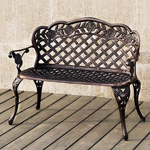 HOMEFUN Outdoor Bench Aluminum, Garden Park Benches Patio Front Porch Loveseat Furniture, Rose Carving and Weather Resistant (Antique Bronze) (Furniture Cast Aluminium Garden)