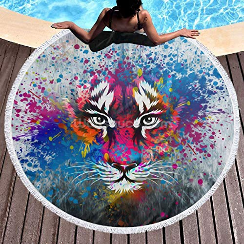 Round Surf Beach Towel - Colorful Tiger Face Blanket Microfiber Yoga Mat with Tassels Ultra Soft Super Water Absorbent Multi-Purpose Towel ()