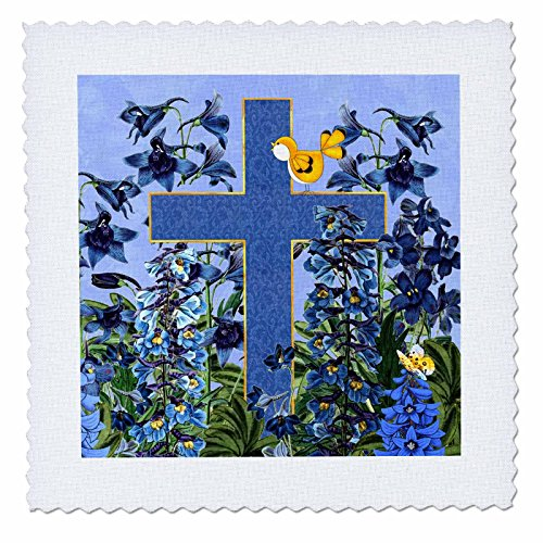 - 3dRose Larkspur Garden with Yellow Canary and Christian Cross Quilt Square 10 x 10