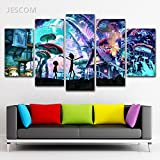 #3: 5 Panels Canvas Painting Rick And Morty HD Print on Canvas Wall Art Painting Modern Home Decor Picture For Living Room Decor (no frame, 30x50cmx2,30x70cmx2,30x80cmx1)