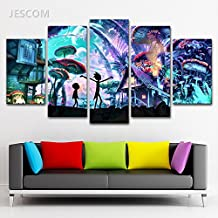 5 Panels Canvas Painting Rick And Morty HD Print on Canvas Wall Art Painting Modern Home Decor Picture For Living Room Decor (no frame, 30x50cmx2,30x70cmx2,30x80cmx1)
