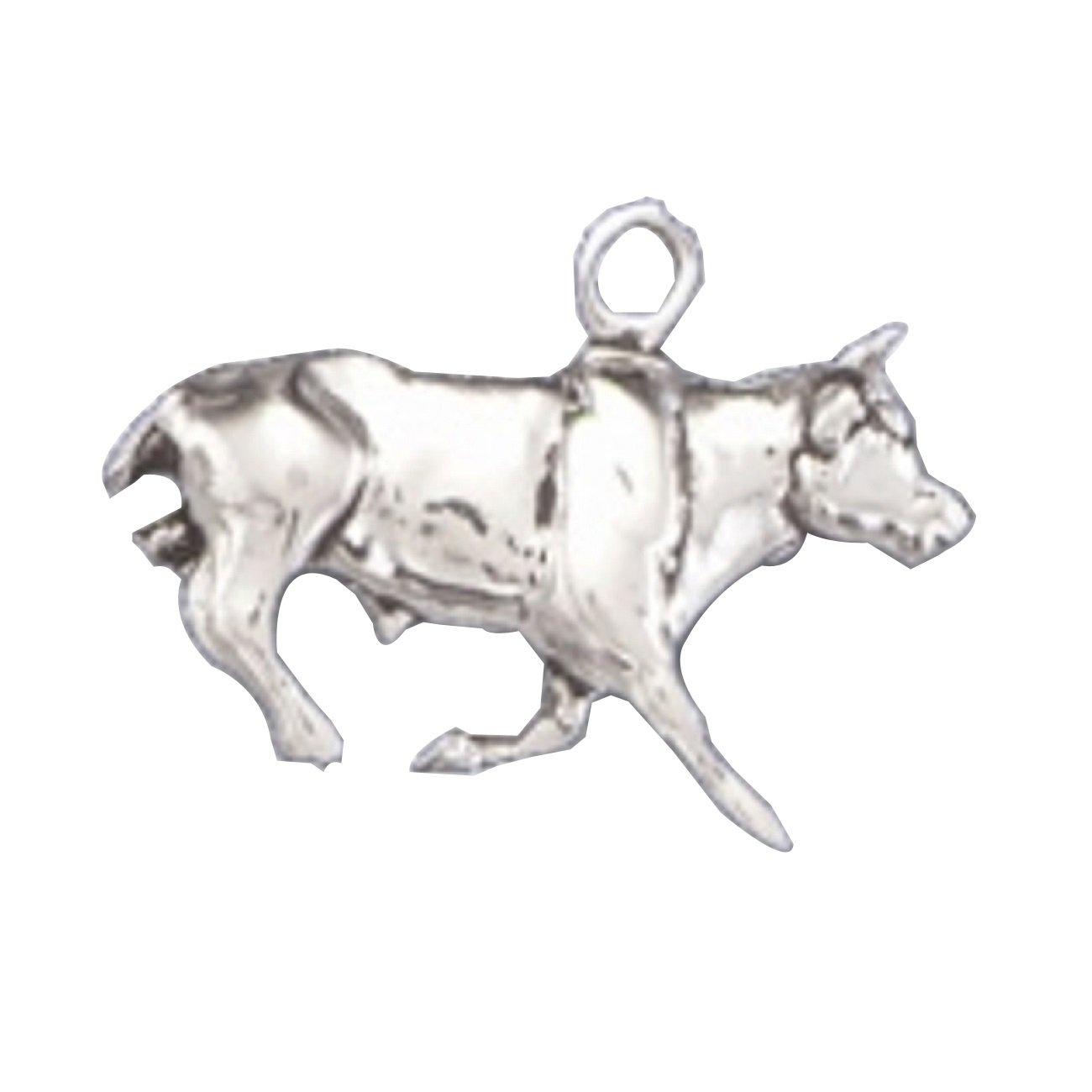 Sterling Silver Girls .8mm Box Chain 3D Raging Running Rodeo Bull Pendant Necklace