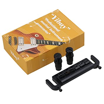 yibuy negro ATADURA 6 ajustable silla de montar puente cordal para guitarra eléctrica