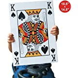 EKEV Giant Jumbo Playing Cards - 10.5 x 14.5 Inches Full Deck Huge Poker Index Game Card Set - Great Novelty Gift for…