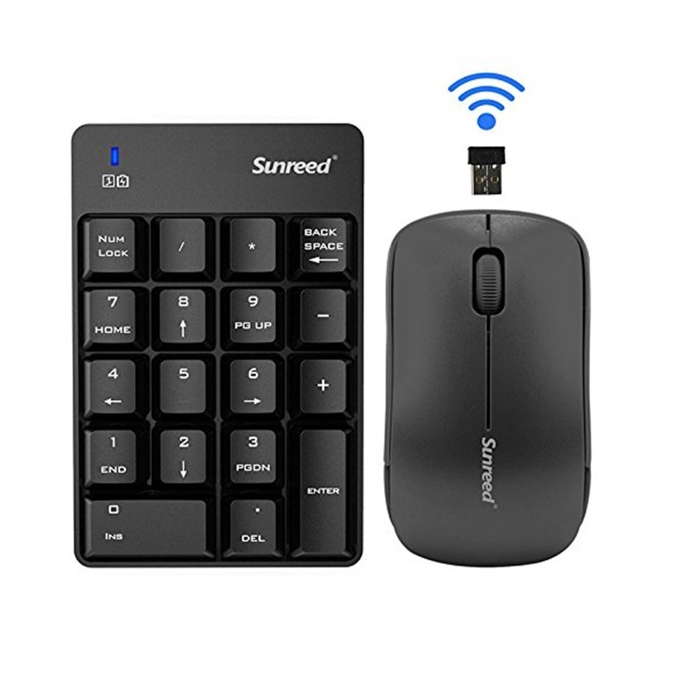 Sunreed Numeric Keypad & Mouse Combo, 2.4G Wireless Mini USB Number Pad Keyboard and Mouse for Laptop Desktop Notebook - Just One USB Port