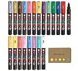 Uni Posca Paint Marker Pen PC-1M Extra Fine Point 21 Colors, Sticky Notes Value Set