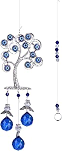 LONGSHENG - SINCE 2001 - Feng Shui Suncatcher Blue Evil Eyes Lucky Tree of Life for Protection with Hanging Crystal Ornament