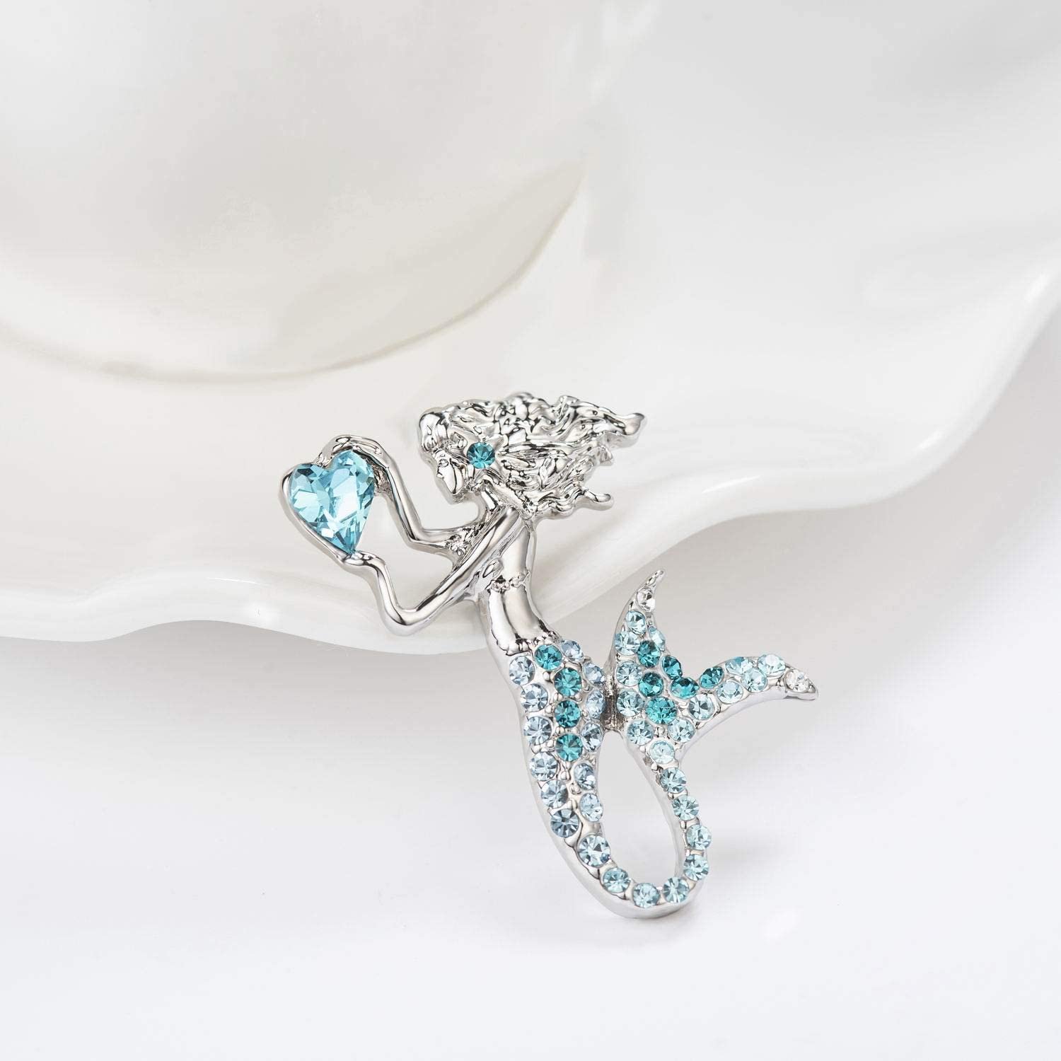 luomart Little Mermaid Brooch Pins for Girls,Birthstone Brooches Jewelry Gift Set for Kids Women Teens Children