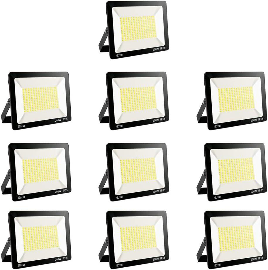 200W LED Foco Exterior, Proyector Foco Led Blanco Frío 6000K Floodlight Brillo Alto IP65 Impermeable Exterior Iluminación para Jardín, Garaje, Fábrica [Clase de Eficiencia Energética A++]