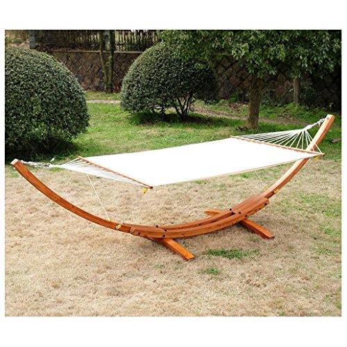 Cypress Wooden Arc Hammock Stand with Hammock Hot Summer Outdoor Indoor Decor
