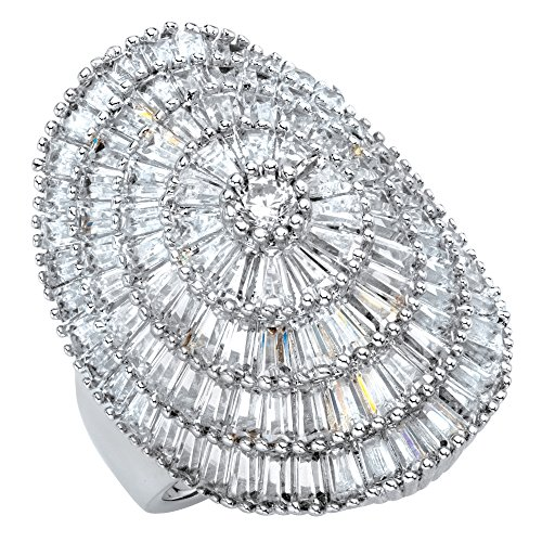 Platinum-plated Round and Baguette Cubic Zirconia Cluster Dome Ring Size 8