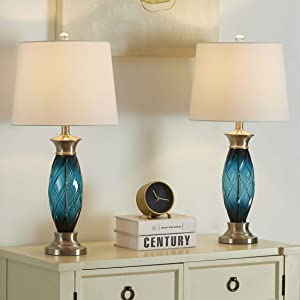 Set of 2 Glass 3-Way Dimmable Table Lamp Modern Blue Nightstand Lamp with White Fabric Shade for Living Room Bedroom Hotel