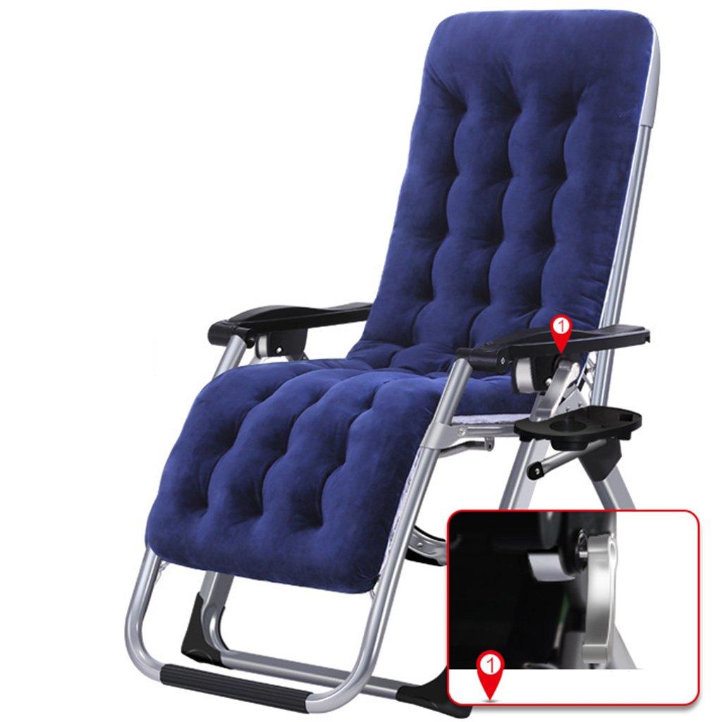 Klappstuhl Freien Mit Fußstütze Und Kissen Kampierende Reise-Patio-schwere Stühle, Die, Blaue Gewebe, 200kg Stützen