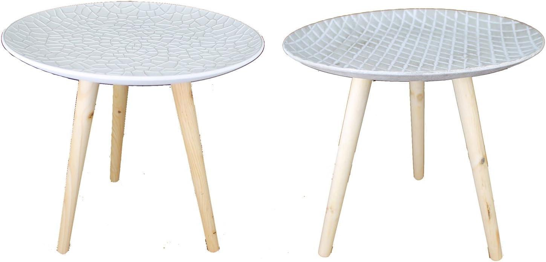 Stile retr/ò Tavolino da caff/è in Legno GMMH TS-ideen 44 cm Colore: Bianco