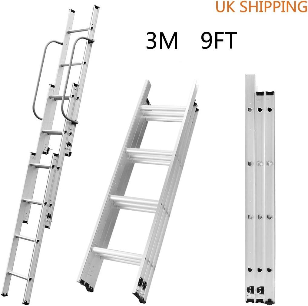 Escalera telescópica 3M de aluminio, escalera de 3 secciones, escalera retráctil, 16 peldaños, 150 kg de capacidad de carga: Amazon.es: Bricolaje y herramientas